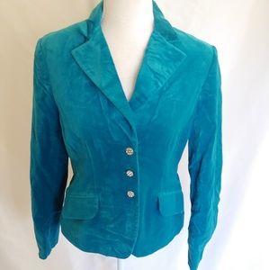 George Blue Turquoise Velvet Blazer Suit Jacket